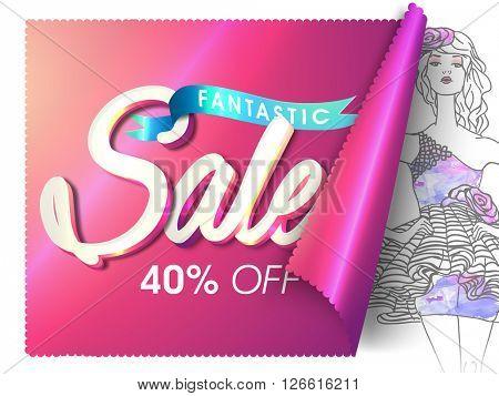 Fantastic Sale Poster, Sale Banner, Sale Flyer, 40% Off, Creative glossy vector illustration.