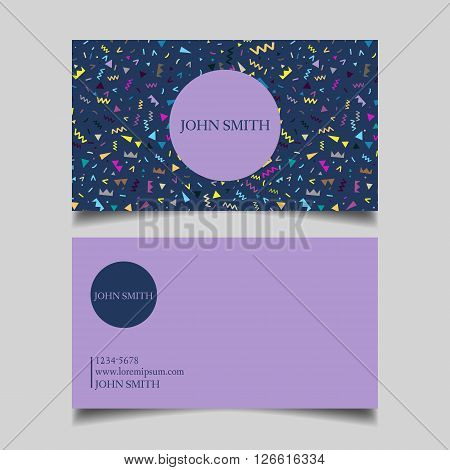 Template business card editable neat blue purple background the design of the project Memphis 80 years card-vector illustration