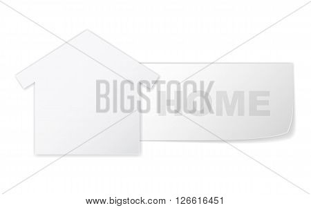 Symbol of home like paper label and text - home. Vector concept house symbol for web.