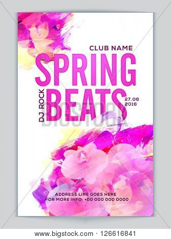 Spring Beats Musical Party Template, Dance Party Flyer, Night Party Banner or Club Invitation Card with beautiful flowers and abstract design decoration.