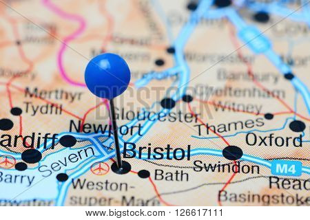 Bristol pinned on a map of UK