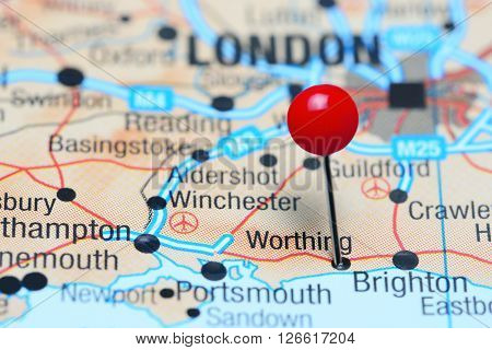 Worthing pinned on a map of UK
