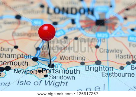 Portsmouth pinned on a map of UK