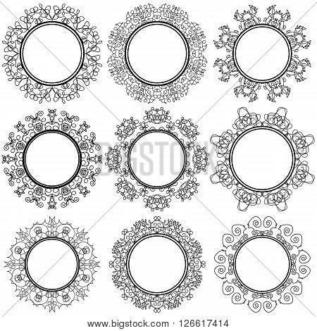 Set of Circle Geometric Ornaments Isolated on White Background. Monochrome Elegant Mandala. Vintage Set of Outline Oriental Emblems and Badges