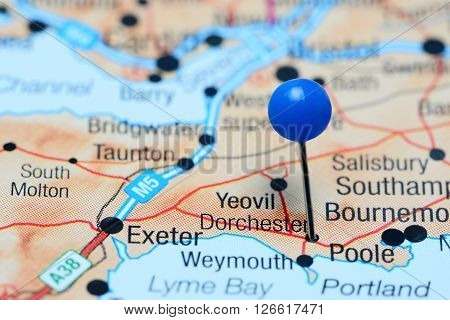 Dorchester pinned on a map of UK
