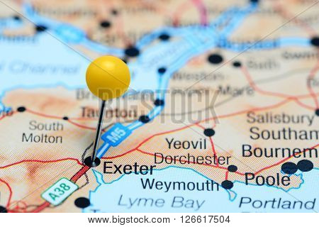Exeter pinned on a map of UK