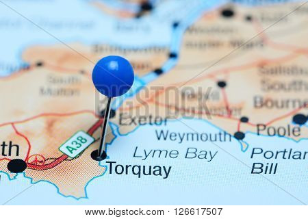 Torquay pinned on a map of UK