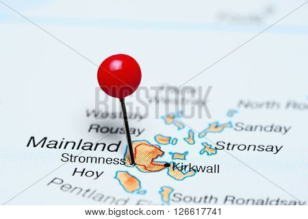 Stromness pinned on a map of UK