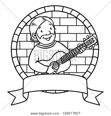 Coloring book or emblem of funny musician or guitarist or artist with guitar in round frame with cartouche. Profession series. Children vector illustration.