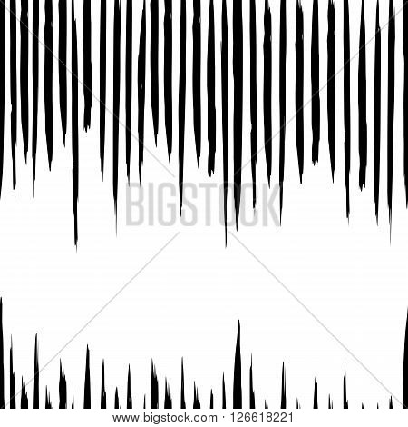 Vector seamless pattern with careless strokes and vertical lines. Abstract background with strokes. Black and white hand drawn texture.