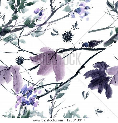 Watercolor and ink illustration of tree and insects. Gohua sumi-e u-sin painting. Seamless pattern.
