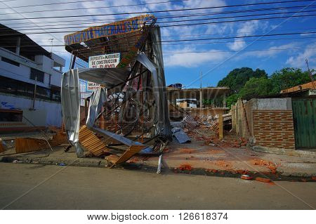 Portoviejo, Ecuador - April, 18, 2016: Metal structure from building destroyed fasade after earthquake of 7.8.