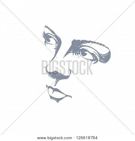 Facial Expression, Hand-drawn Illustration Of Face Of Romantic Pensive Girl With Positive Emotional