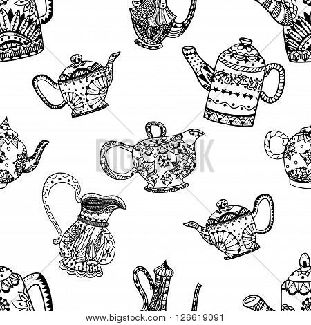 Seamless pattern of Teapots and jugs. Vector illustration. Hand drawn art made of flowers and Leaves.