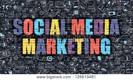 Social Media Marketing Concept. Modern Illustration. Multicolor Social Media Marketing Drawn on Dark Brick Wall. Doodle Icons. Doodle Style of Social Media Marketing Concept.