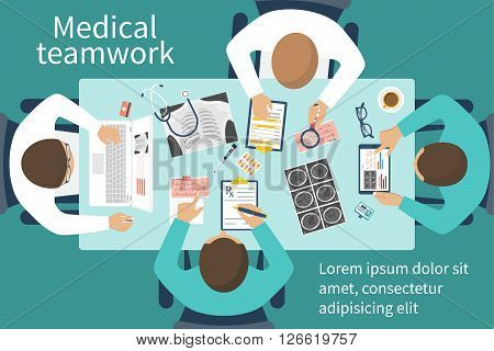 Medical Team Doctors At Desktop