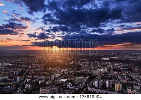 Wroclaw city under sunset panoramic air view. Poland Europe.