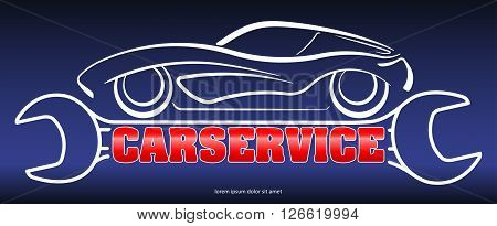 Car Service - Blue, Red And White Design With Composition A Silhouette Of Car On Stylized Wrench And