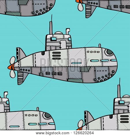 Seamless pattern of Colored old Submarine. Vector Illustration Art