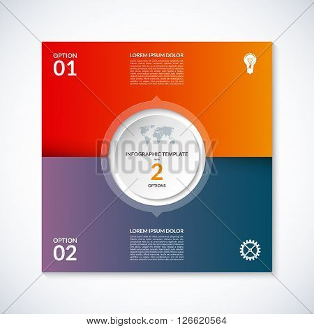 Vector infographic square template. Banner with 2 steps stages, options, parts. Can be used for diagram, graph, pie chart, brochure, report, business presentation, web design.