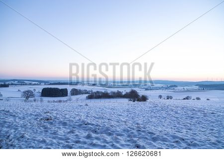 Winter Landscape In Germany In The Morning At The Blue Hour
