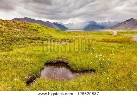 Summer Iceland. Small pond surrounded by green meadow. In the smooth thermal water reflects  cloudy sky