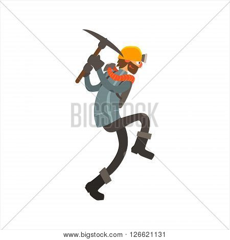 Profession Miner  Primitive Cartoon Style Isolated Flat Vector Illustration On White Background