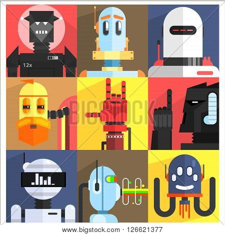 Set Of Different Cartoon Robots Isolated On Colorful Backgrounds In Childish Weird Vector Design Illustration