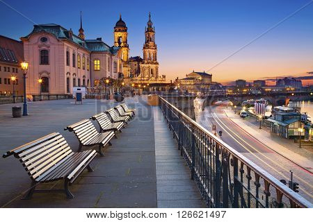 Dresden. Image of Dresden, Germany during twilight blue hour.