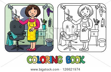 Coloring book of funny woman hairdresser with scissors near the mirror, barber chair and hairdress equipment. Profession ABC series. Children vector illustration.