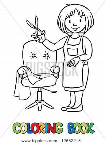 Coloring book of funny woman hairdresser with scissors near the barber chair in round frame with cartouche. Profession ABC series. Children vector illustration.