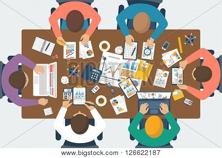 Project management concept. Business team work on projects. Brainstorming. Business meeting planning strategy analysis marketing research financial management. Flat design vector.