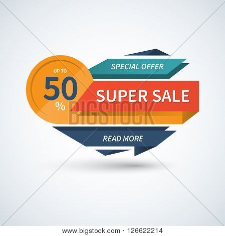 Super Sale banner. Sale vector template. Sale label. Sale badge. Sale tag. Sale sticker. Super Sale and special offer concept. Up to 50 percent off. Origami style. Vector background