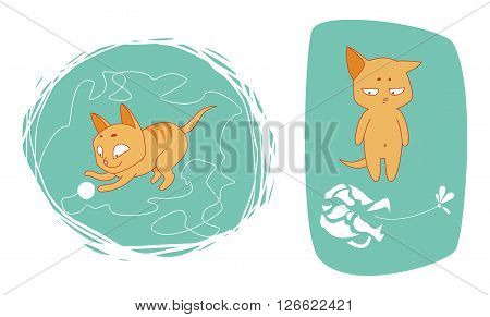 set of vector illustrations wit funny cat