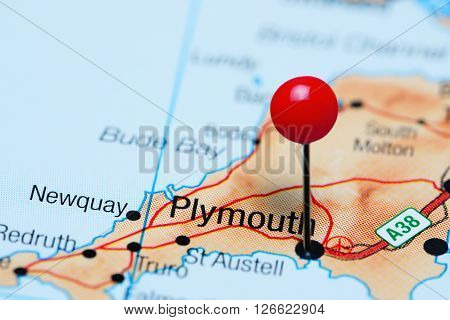 Plymouth pinned on a map of UK