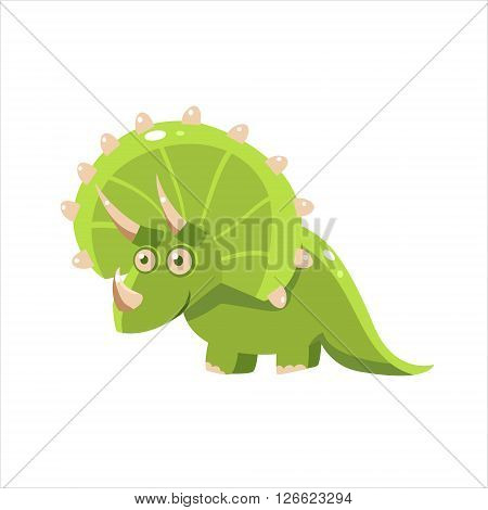 Green Happy Triceratops Flat Vector Illustration In Primitive Cartoon Style Isolated On White Background