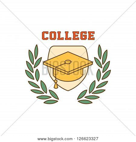 Framed Square Hat College Flat Outlined Vector Design Logo With Text On White Background