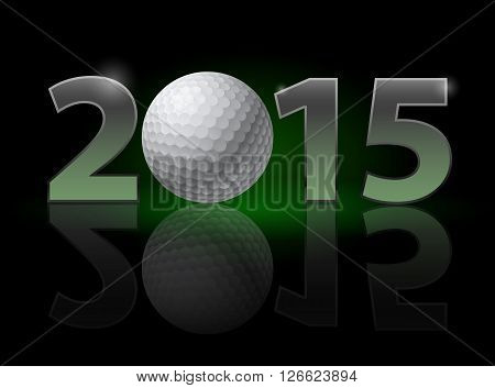 New Year 2015: metal numerals with golf ball instead of zero having weak reflection. Illustration on black background.