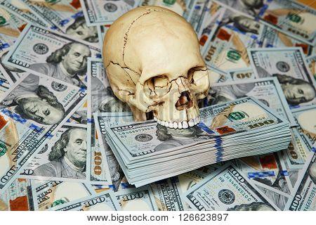 Human Skull And Dollars