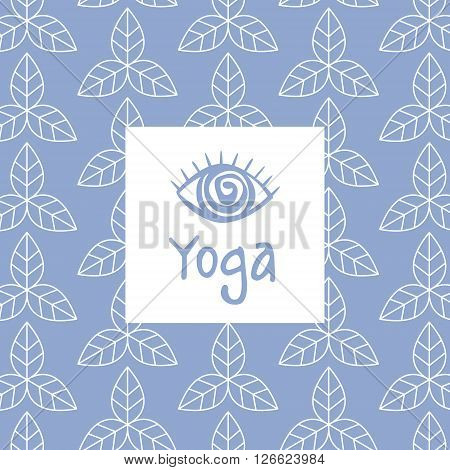 Third Eye Yoga Studio Design Card In Pastel Colors Flat Vector Design On Ornamental Background