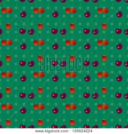 Cherry seamless pattern 2. Sweet cherry and cherry on a green polka dot background in seamless pattern