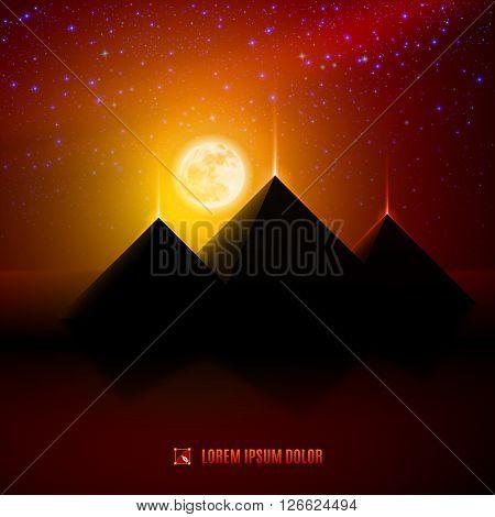 Red and orange night egypt desert landscape background illustration with moon pyramids landmark and stars