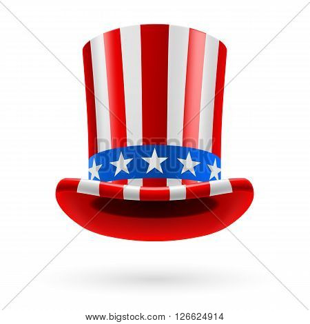Top hat made of United States flag. Uncle Sam hat.