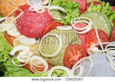 colorful buns for burger. food background food pattern