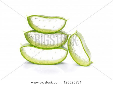 Aloe Vera Aloe Vera cut pieces isolated on white background.