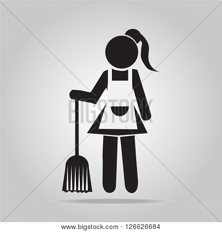 Cleaning icon, Maid with broom icon sign