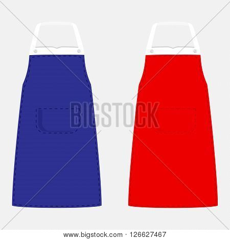 Vector illustration blue and kitchen aprons with pocket. Kitchenware apron design isolated on grey background