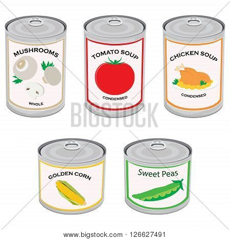 Vector illustration canned food set collection. Tomato soup chicken soup sweet peas golden corn and mushrooms. Metal tin can