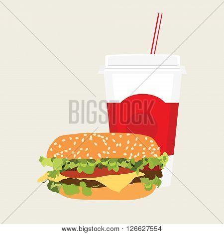 Vector illustration fast food icon. Cheeseburger and soda drink. Hamburger