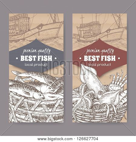 Set of two labels with modern fishing boat, fish and seafood basket on cardboard background. Great for markets, fishing, fish processing, canned fish, seafood product label design.